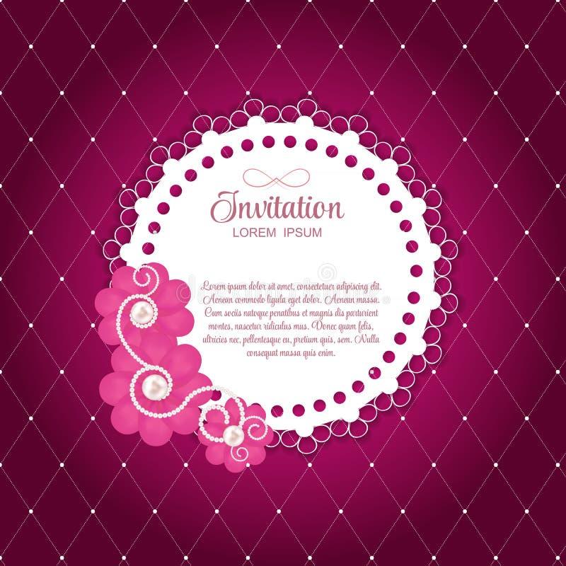 Romantische de Kaart Vectorachtergrond van de Bloem Uitstekende Uitnodiging stock illustratie