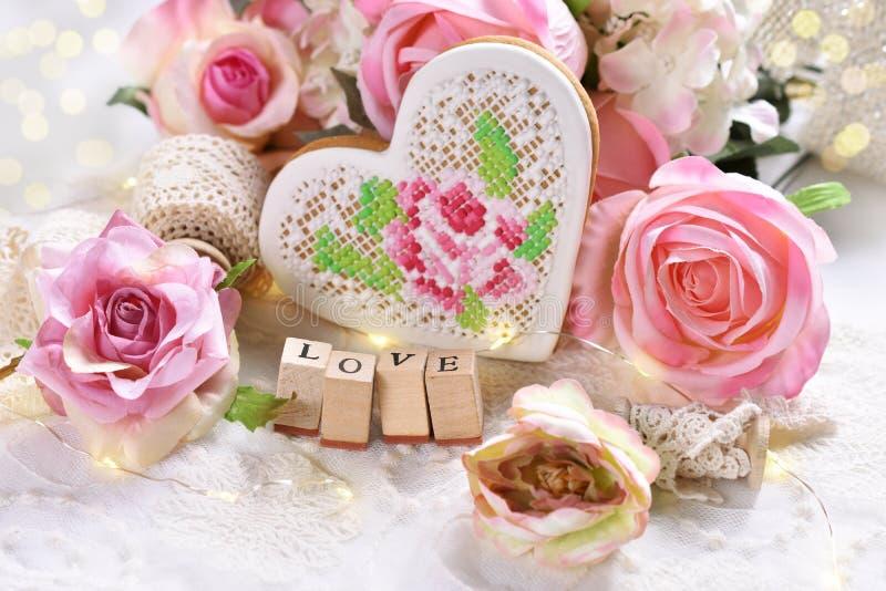 Romantische decoratie voor Valentine of huwelijksdag stock afbeelding
