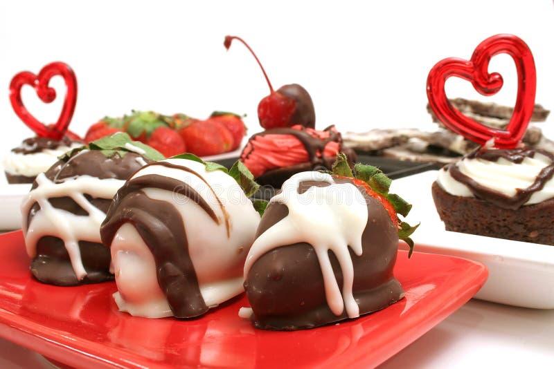 Romantische desserts stock fotografie