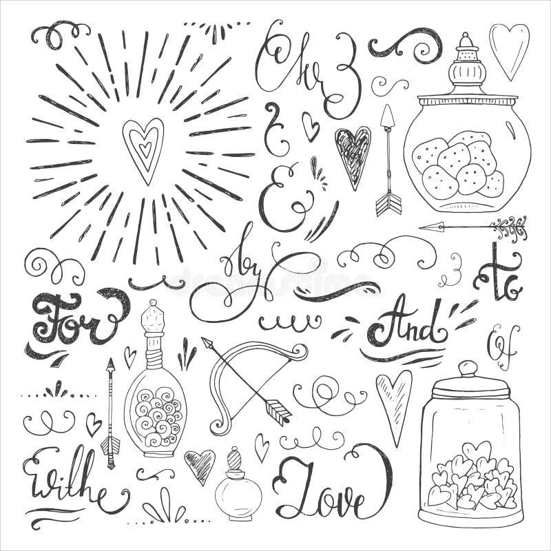 Romantische elementen stock illustratie