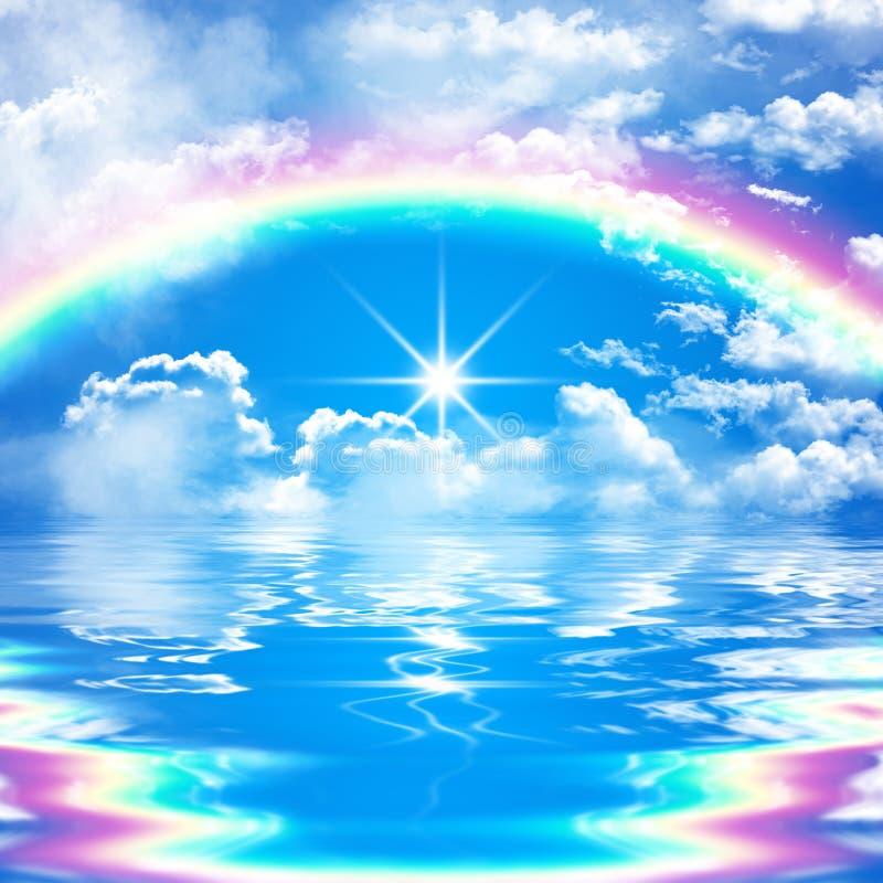 Romantische en vreedzame zeegezichtscène met regenboog op bewolkte blauwe hemel vector illustratie