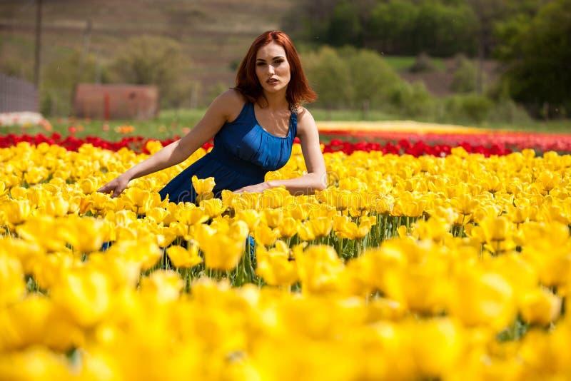 Download Romantische Frau Auf Dem Blumengebiet Am Sonnigen Tag Stockbild - Bild von park, glücklich: 90225523