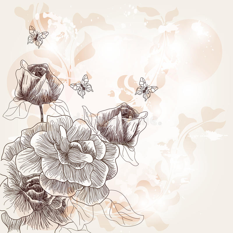 Romantische Hand gezeichnete Postkarte lizenzfreie abbildung