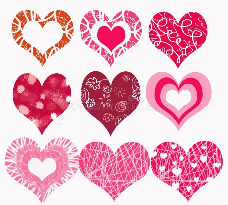 Romantische harten stock illustratie