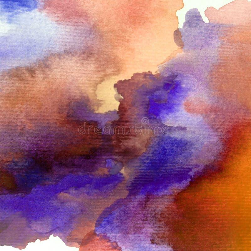 Romantische hemel van het van de achtergrond waterverfkunst de abstracte natte was kleurrijke geweven onweer vector illustratie