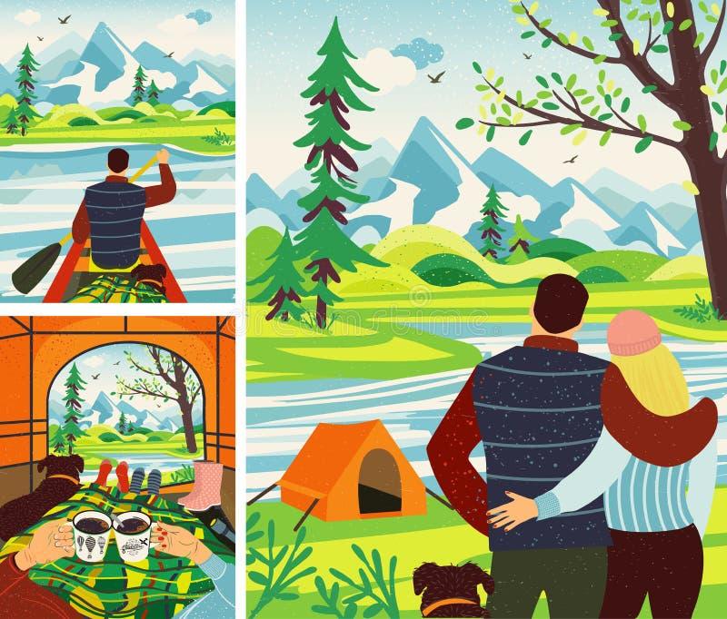Romantische het Kamperen Reis De man en de Vrouw krijgen om in de Tent te koelen, het Drinken Hete Koffie, die Meningen in Bergen vector illustratie