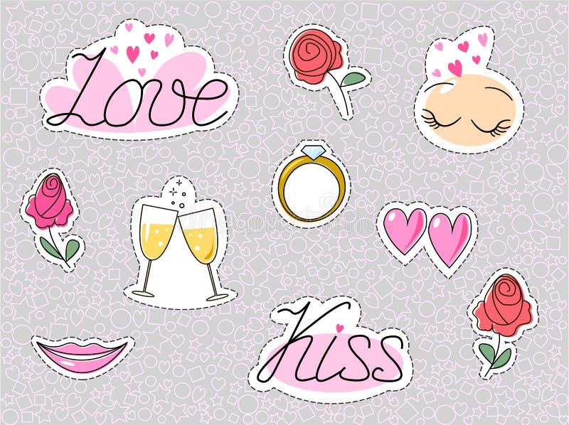 Romantische Hochzeitsaufkleber oder -flecken Liebesdatierungskussherz und -rosen lokalisiert Vektor vektor abbildung