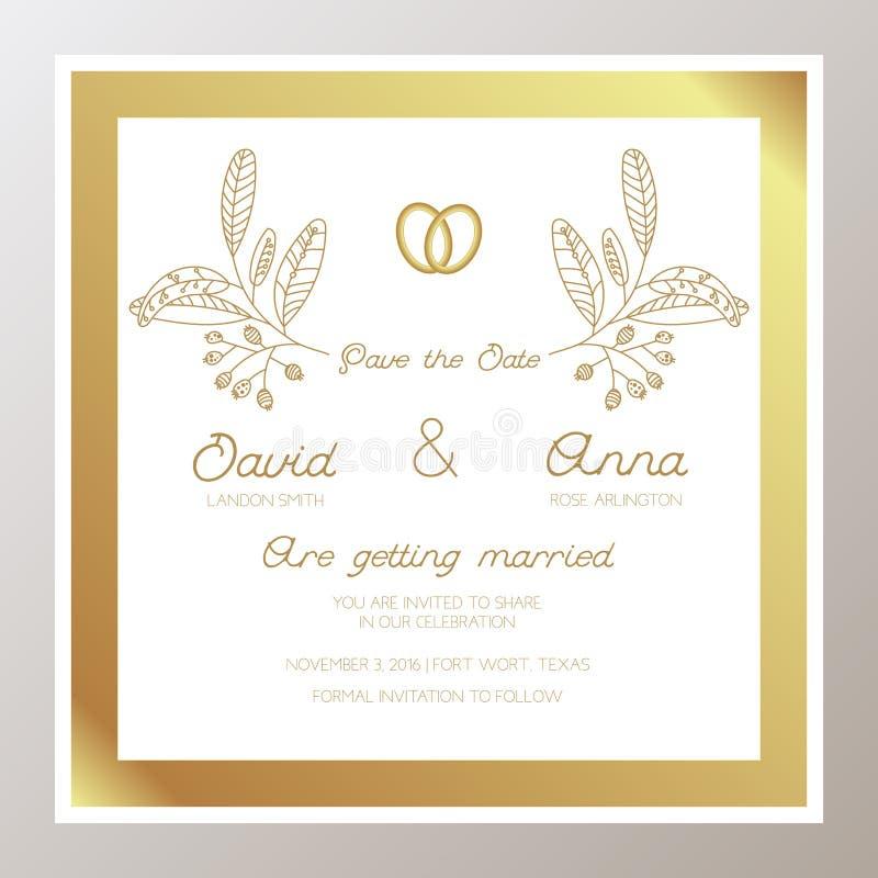 Romantische Huwelijksuitnodiging met gouden ringen vector illustratie
