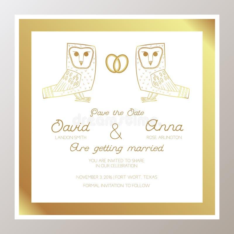 Romantische Huwelijksuitnodiging met gouden ringen, uilen stock illustratie