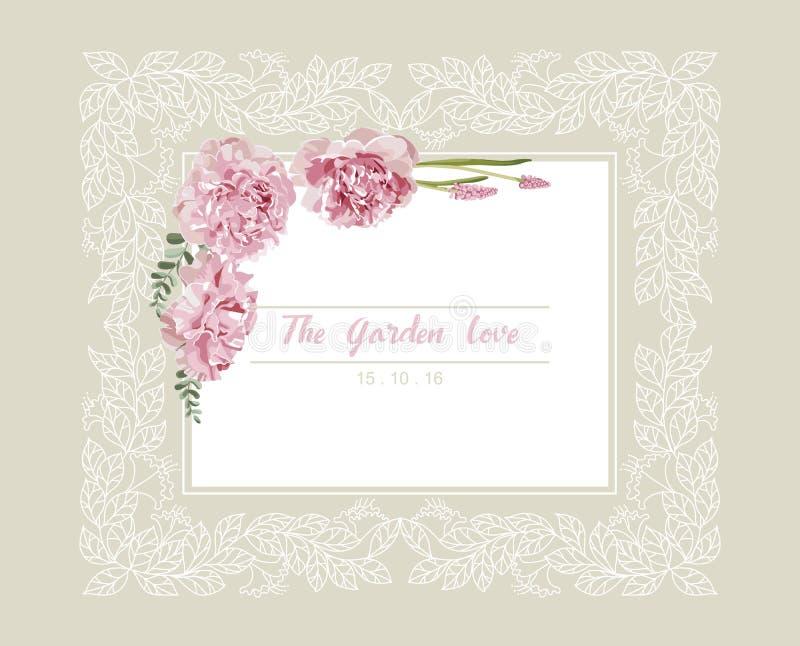 Romantische huwelijksuitnodiging Uitstekende kaart met roze bloemen en bloemen wit overzichtskader vector illustratie