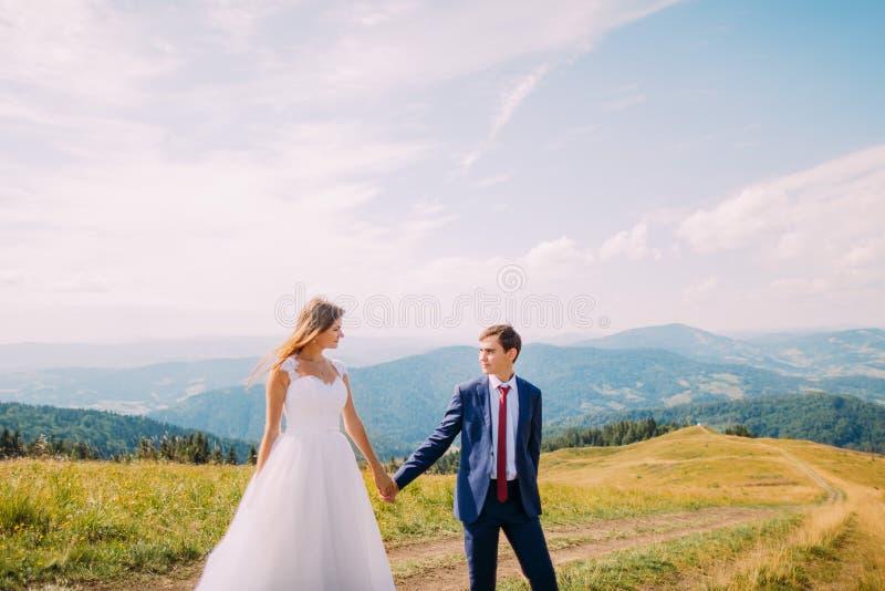 Romantische jonge bruid en bruidegom die op sleep over geel zonnig gebied met bosheuvels als achtergrond lopen royalty-vrije stock afbeelding
