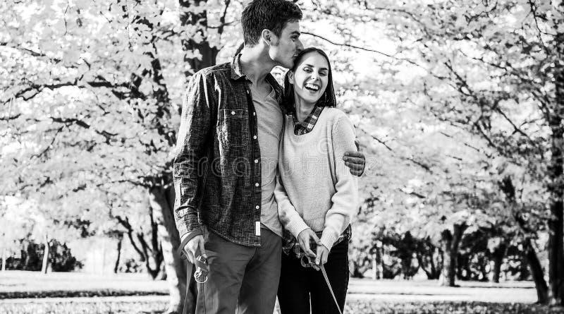 Romantische junge Paare, die draußen in Herbstpark mit Hunden gehen lizenzfreies stockfoto