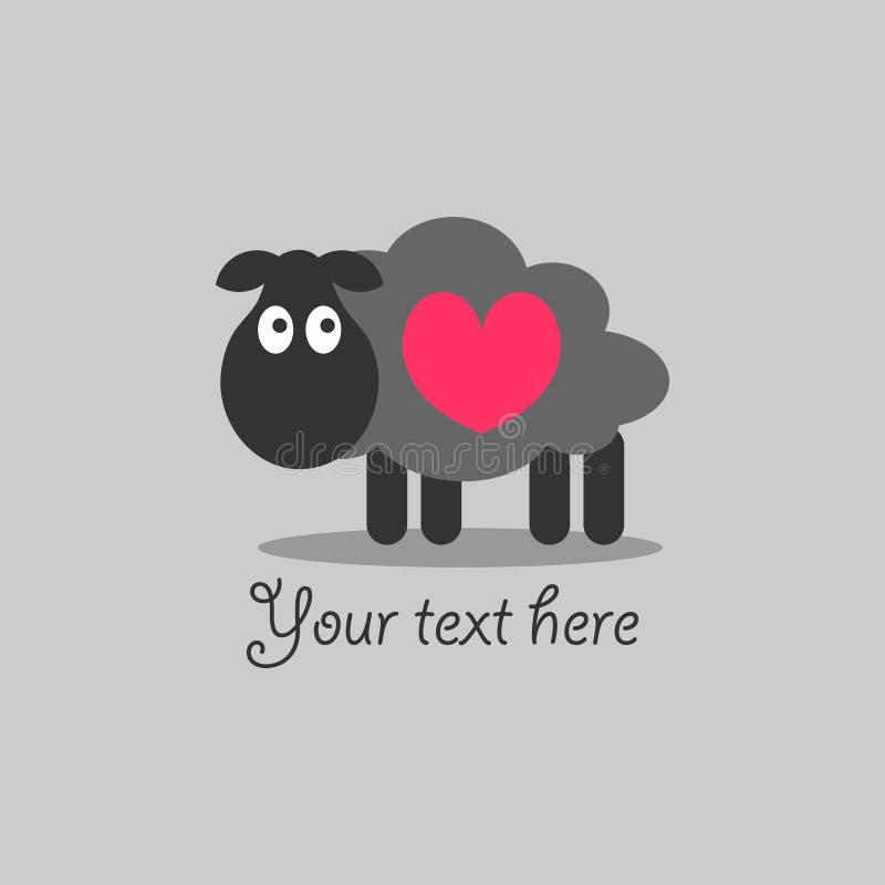 Romantische kaart met lam stock illustratie