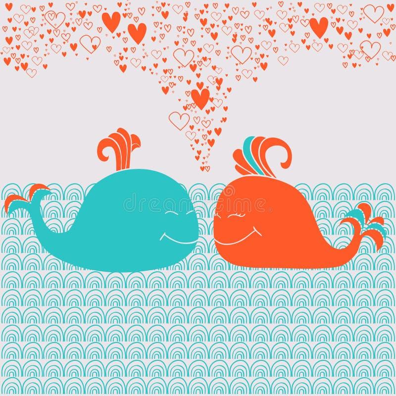 Download Romantische Kaart Met Leuke Walvissen, Harten En Golven Vector Illustratie - Illustratie bestaande uit art, karakter: 39109812