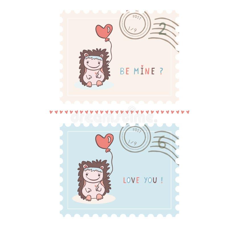 Romantische Karikaturigelvalentinsgruß-Briefmarken übergeben gezeichnet stock abbildung