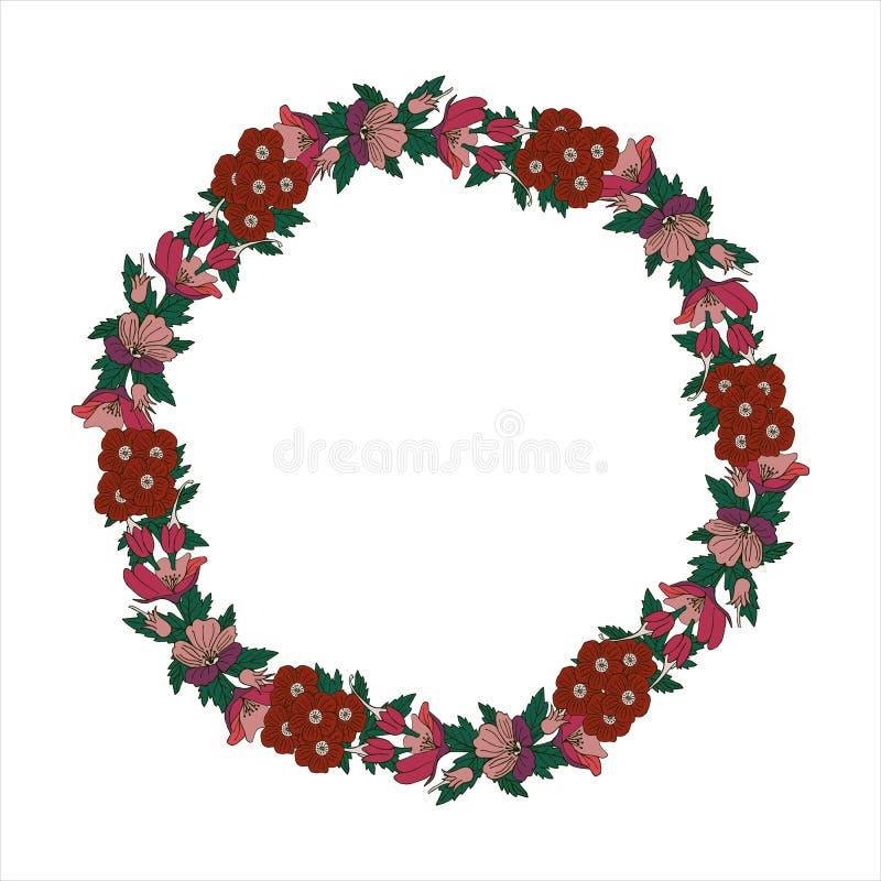 Romantische kroon met bloemen en bladeren Romantische vectorelementen voor kaart Sparen de Datum en de Uitnodiging stock illustratie
