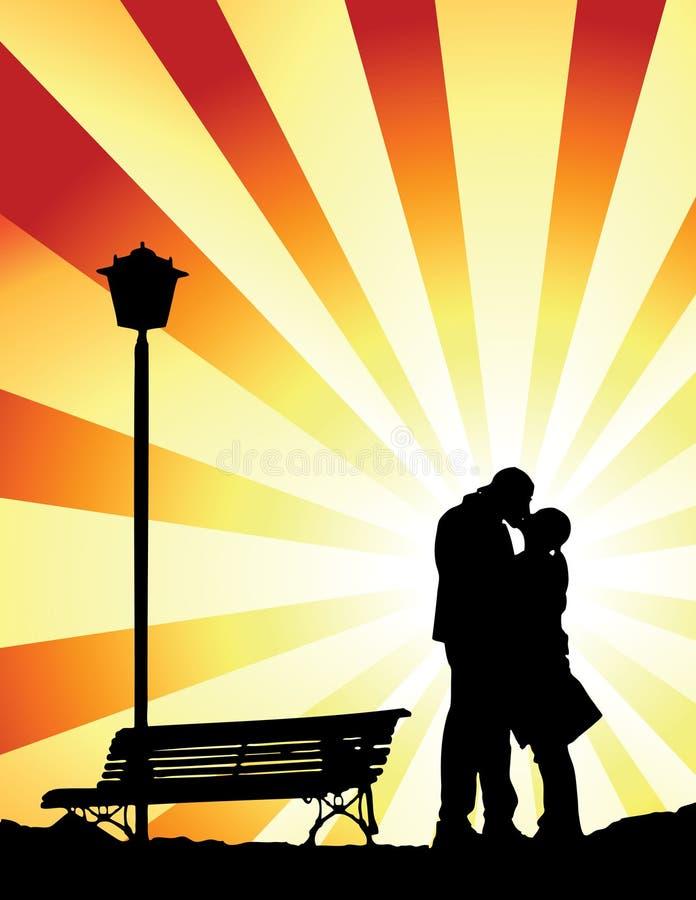 Romantische kus (vector) royalty-vrije illustratie