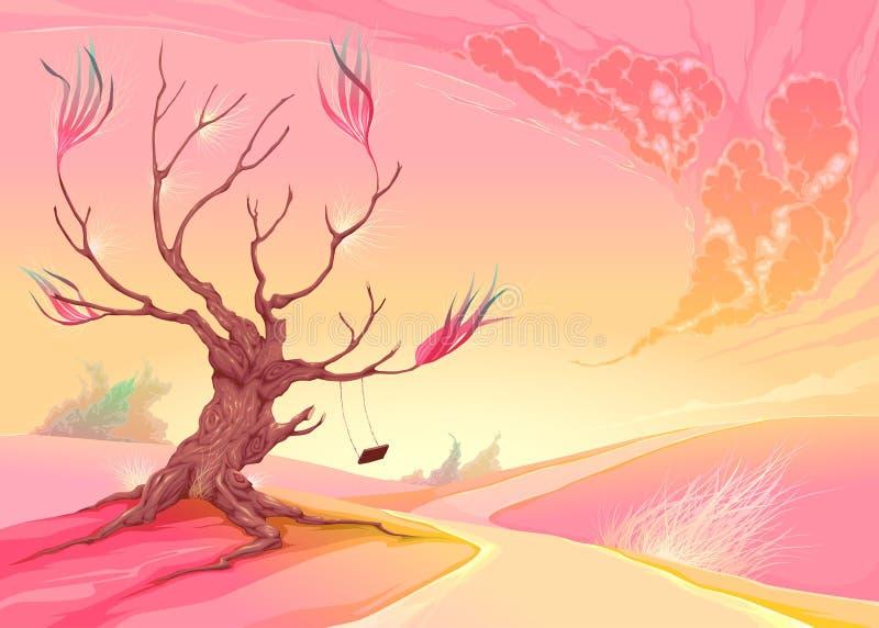 Romantische Landschaft mit Baum und Sonnenuntergang lizenzfreie abbildung