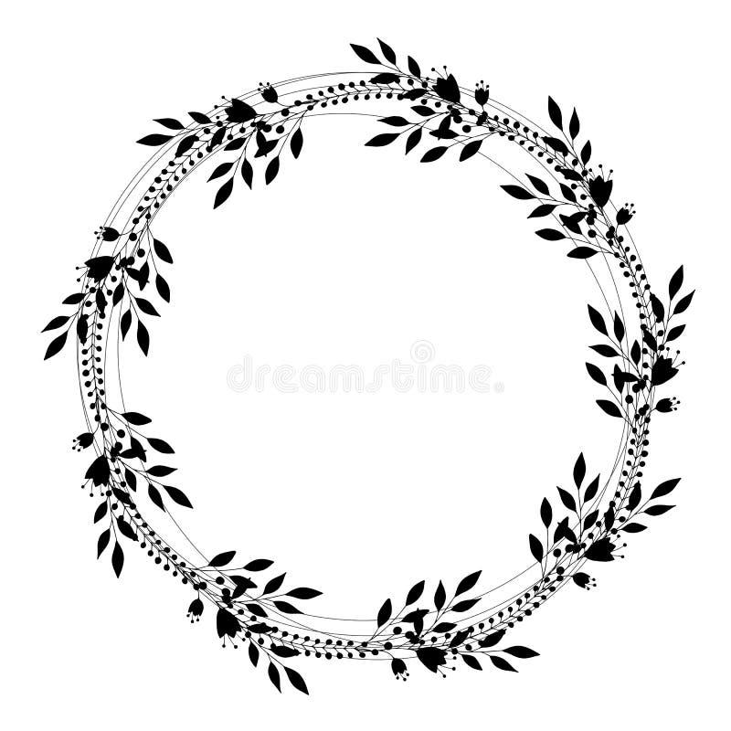 Romantische leuke eenvoudige kroon van takjes Vector illustratie stock illustratie
