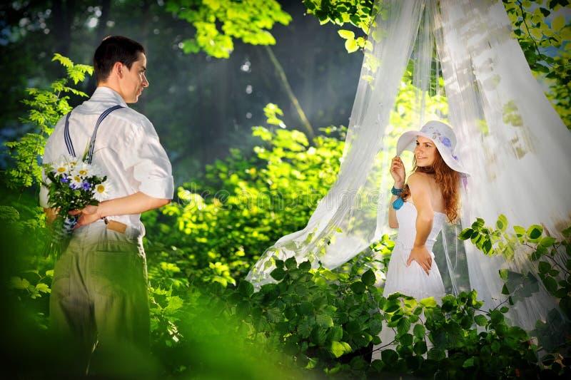 Romantische minnaars in het bos stock afbeelding