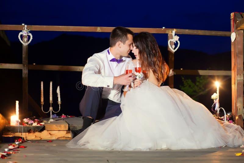 Romantische mooie luxueuze huwelijksceremonie met kaarsen van Ha royalty-vrije stock foto's