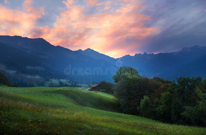 Romantische Morgenstimmung an Schweizer Tal praettigau stockfotografie