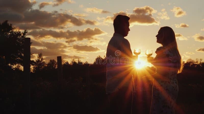 Romantische multi-etnische paar het drinken wijn bij zonsondergang Zij bevinden zich dichtbij de wijngaard Wittebroodsweken en re stock foto's