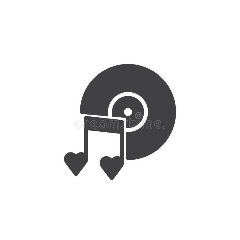 Romantische muziek met schijf en hart de vector van het nota'spictogram vector illustratie