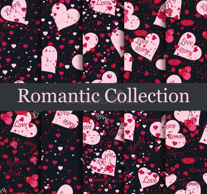 Romantische naadloze patroonreeks Liefdeachtergrond met harten, bessen en lippen Elementen van grungestijl Vector royalty-vrije illustratie