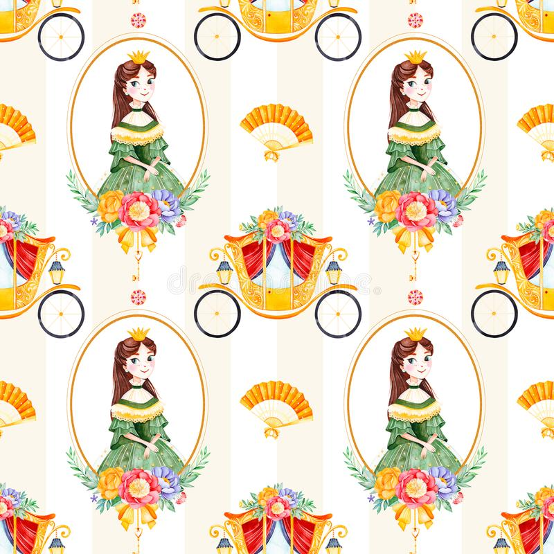 Romantische naadloze sprookjetextuur met boeketten, vervoer, bloem, prinses, handventilator, halfedelsteen royalty-vrije illustratie