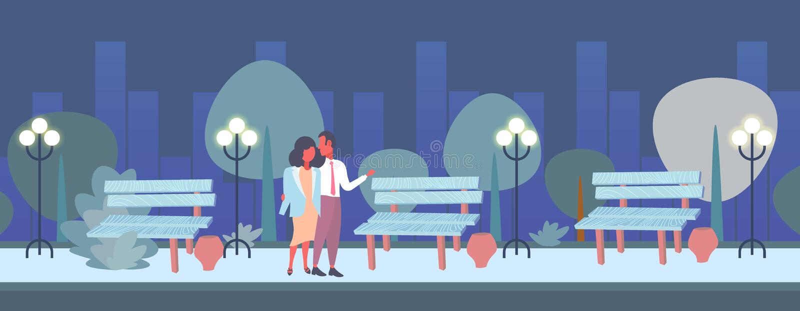 Romantische Nacht der Paare, welche die glückliche Valentinsgrußtageskonzeptmannverliebte frau umfasst städtisches Parkstadtbild  vektor abbildung