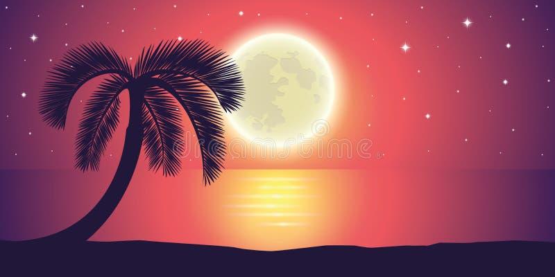 Romantische nachtvolle maan door het overzees met palmlandschap royalty-vrije illustratie