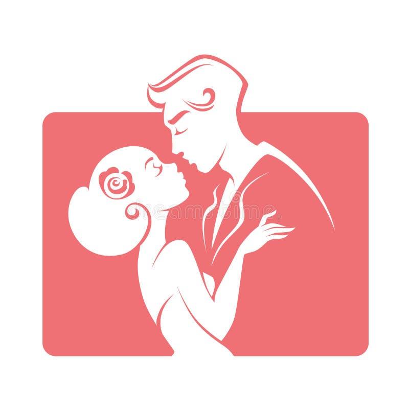 Romantische Paarbraut und Bräutigam, Heiratsemblem, Aufkleber, Aufkleber stock abbildung