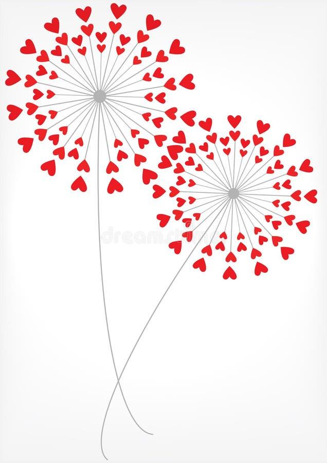 Romantische paardebloemen met harten vector illustratie