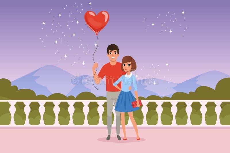 Romantische Paare auf dem Datum Mann, der Ballon in der Herzform hält Zaun, sternenklarer Himmel, Berge und grüne Büsche an lizenzfreie abbildung