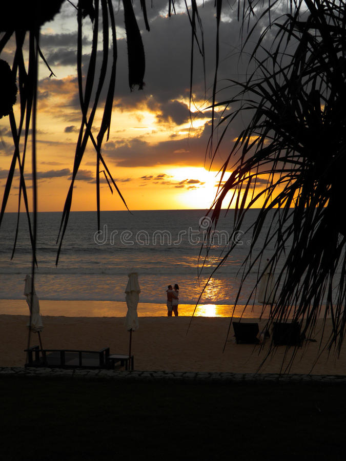Romantische Paare auf Strand in Thailand stockbilder