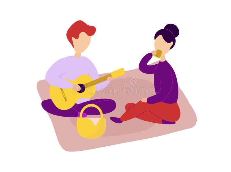 Romantische Paare in der Liebe, die Picknick zusammen hat stock abbildung