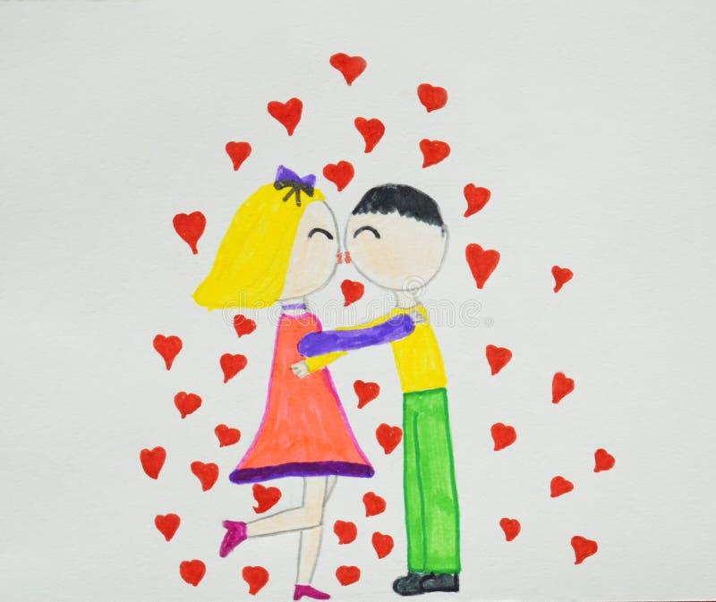 Romantische Paare Junge und Mädchen in der umarmenden, streichelnden und küssenden Liebe Kind-` s Zeichnung Hand gezeichnet lizenzfreie stockbilder