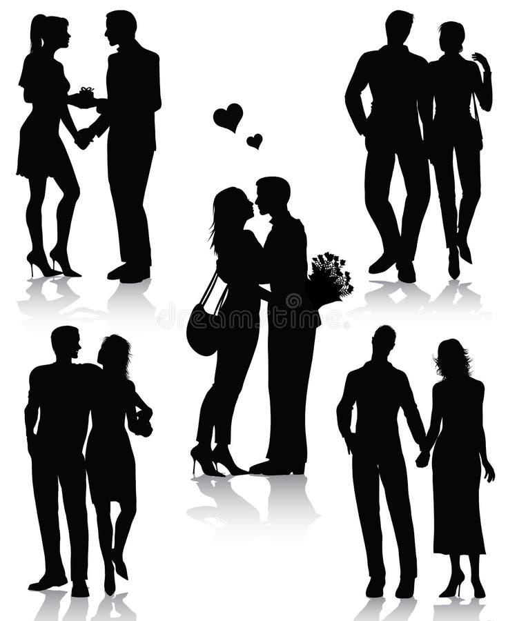 Romantische parensilhouetten stock illustratie