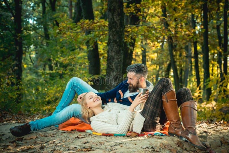 Romantische Picknickwaldpaare in den Liebestouristen, die auf Picknickdecke sich entspannen Romantisches Datum in der Natur Nur z stockfotos