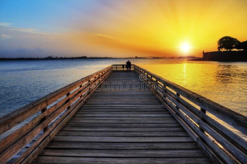 Romantische pier San Juan stock afbeeldingen