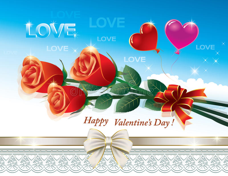 Romantische Postkarte für Valentinsgruß-Tag vektor abbildung