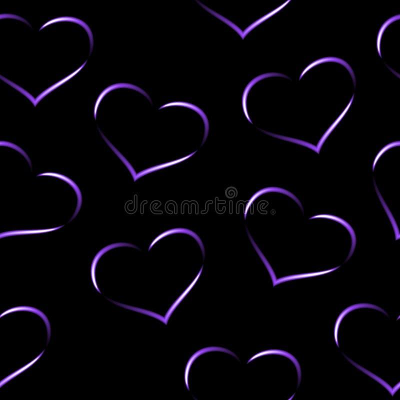 Romantische purpere neonharten, purper violet en wit patroon, naadloze vector, zwarte achtergrond royalty-vrije illustratie