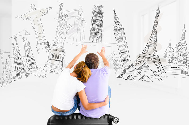 Romantische Reiseplanung stockfotos