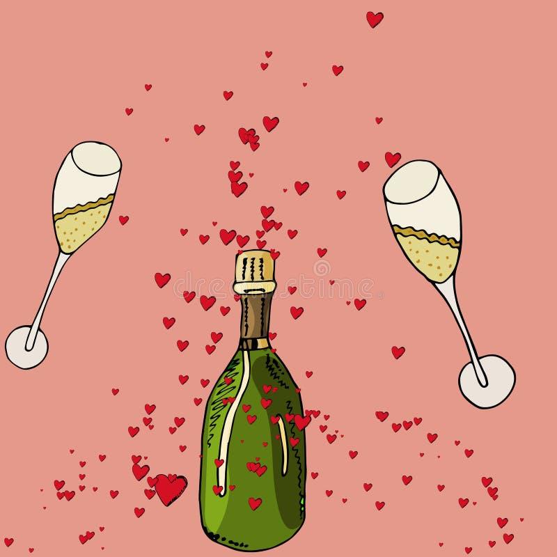 Romantische rode harten met twee glazenillustratie royalty-vrije illustratie