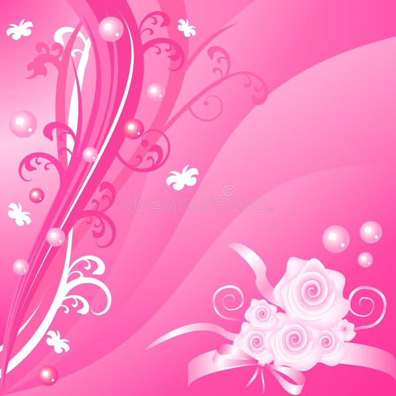 Romantische roze bloemen vectorachtergrond met rozen royalty-vrije illustratie