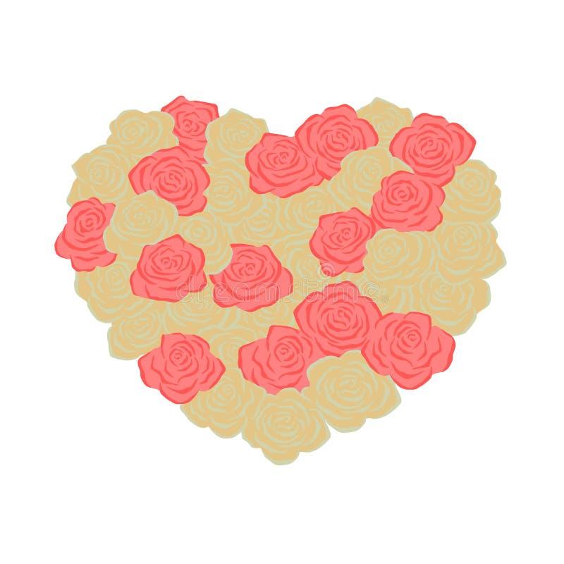 Romantische rozen Vorm van hart Liefde stock illustratie