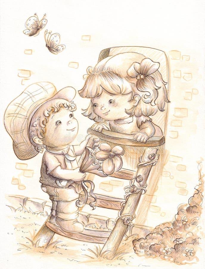 Romantische scène royalty-vrije illustratie