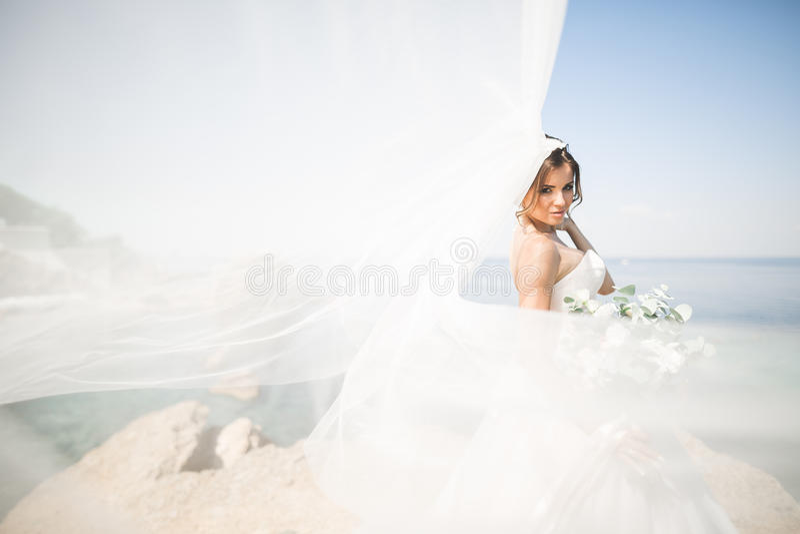 Romantische schöne Braut im weißen Kleid, das auf dem Hintergrundmeer aufwirft lizenzfreie stockbilder