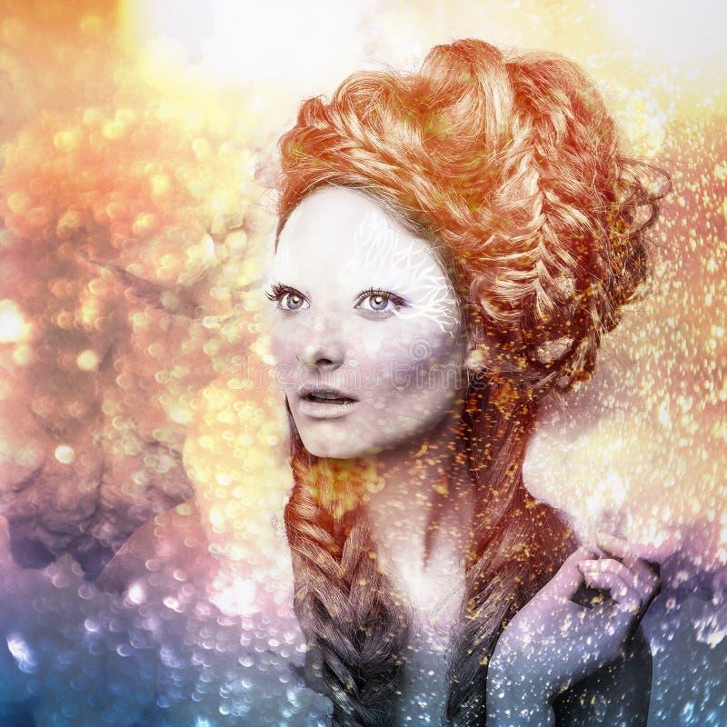 Romantische Schönheit mit dem ausgezeichneten Haar, das in Wolken wandert. Digital gemaltes Pop-Arten-Porträt des Frauengesichtes. lizenzfreies stockbild